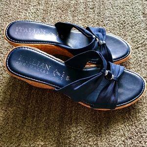 Italian Shoemakers Dark Blue Cork Wedge Sandals